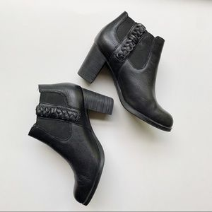 Sperry Top Sider Leather Braided Black Booties